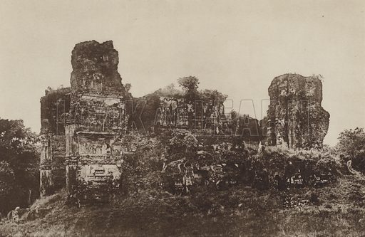 Jetawanarama, from the North. Illustration for The Ruined Cities of Ceylon by Henry W Cave, illustrated with photographs taken by the author in 1896, (3rd edn, Hutchinson, 1904).  Gravure printed.