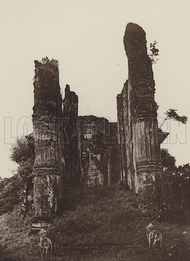 Jetawanarama at Polonnaruwa. Illustration for The Ruined Cities of Ceylon by Henry W Cave, illustrated with photographs taken by the author in 1896, (3rd edn, Hutchinson, 1904).  Gravure printed.