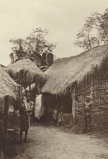 Modern Native Dwelling. Illustration for The Ruined Cities of Ceylon by Henry W Cave, illustrated with photographs taken by the author in 1896, (3rd edn, Hutchinson, 1904).  Gravure printed.
