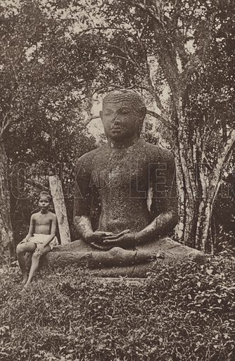 Monolithic Statue of Buddha. Illustration for The Ruined Cities of Ceylon by Henry W Cave, illustrated with photographs taken by the author in 1896, (3rd edn, Hutchinson, 1904).  Gravure printed.