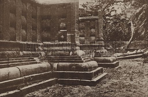 Portion of Buddhist Railing Restored. Illustration for The Ruined Cities of Ceylon by Henry W Cave, illustrated with photographs taken by the author in 1896, (3rd edn, Hutchinson, 1904).  Gravure printed.
