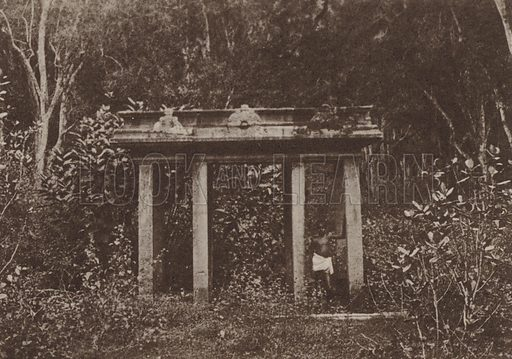 Stone Canopy at Anuradhapura. Illustration for The Ruined Cities of Ceylon by Henry W Cave, illustrated with photographs taken by the author in 1896, (3rd edn, Hutchinson, 1904).  Gravure printed.