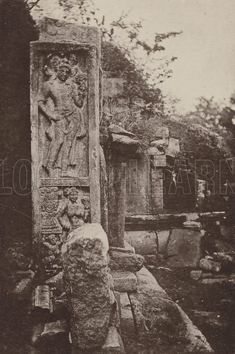 Carved Stele at Abhayagiriya Dagaba. Illustration for The Ruined Cities of Ceylon by Henry W Cave, illustrated with photographs taken by the author in 1896, (3rd edn, Hutchinson, 1904).  Gravure printed.