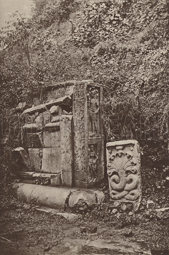 East End of Southern Altar, Abhayagiriya Dagaba. Illustration for The Ruined Cities of Ceylon by Henry W Cave, illustrated with photographs taken by the author in 1896, (3rd edn, Hutchinson, 1904).  Gravure printed.