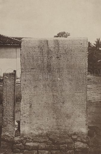 Inscription of Nessanka Malla. Illustration for The Ruined Cities of Ceylon by Henry W Cave, illustrated with photographs taken by the author in 1896, (3rd edn, Hutchinson, 1904).  Gravure printed.