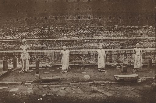 Statues of King Dutthagamini and Three Buddhas. Illustration for The Ruined Cities of Ceylon by Henry W Cave, illustrated with photographs taken by the author in 1896, (3rd edn, Hutchinson, 1904).  Gravure printed.