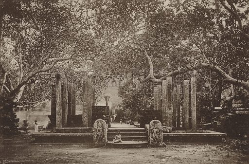 Entrance to the Bo-Tree Enclosure. Illustration for The Ruined Cities of Ceylon by Henry W Cave, illustrated with photographs taken by the author in 1896, (3rd edn, Hutchinson, 1904).  Gravure printed.