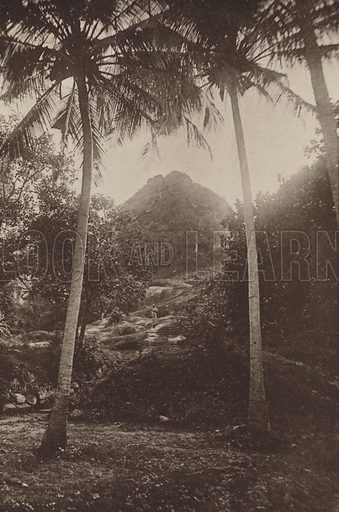 Mihintale. Illustration for The Ruined Cities of Ceylon by Henry W Cave, illustrated with photographs taken by the author in 1896, (3rd edn, Hutchinson, 1904).  Gravure printed.