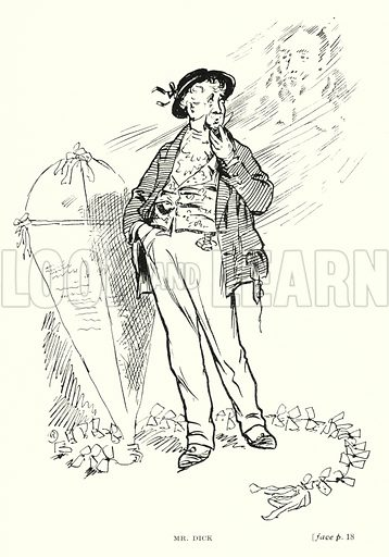 Mr Dick. Illustration for Scenes from Dickens adapted by Guy Pertwee, edited by Ernest Pertwee (George Routledge, c 1910).