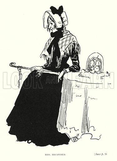Mrs Micawber. Illustration for Scenes from Dickens adapted by Guy Pertwee, edited by Ernest Pertwee (George Routledge, c 1910).