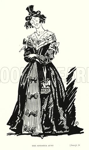 The Spinster Aunt. Illustration for Scenes from Dickens adapted by Guy Pertwee, edited by Ernest Pertwee (George Routledge, c 1910).