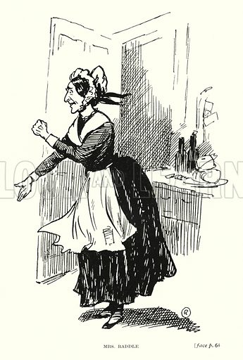 Mrs Raddle. Illustration for Scenes from Dickens adapted by Guy Pertwee, edited by Ernest Pertwee (George Routledge, c 1910).