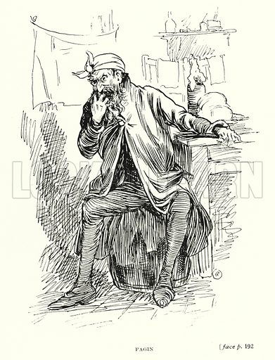 Fagin. Illustration for Scenes from Dickens adapted by Guy Pertwee, edited by Ernest Pertwee (George Routledge, c 1910).