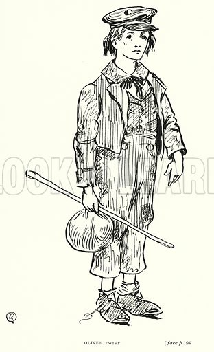 Oliver Twist. Illustration for Scenes from Dickens adapted by Guy Pertwee, edited by Ernest Pertwee (George Routledge, c 1910).