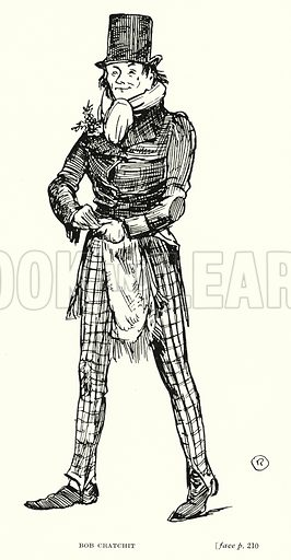 Bob Cratchit. Illustration for Scenes from Dickens adapted by Guy Pertwee, edited by Ernest Pertwee (George Routledge, c 1910).