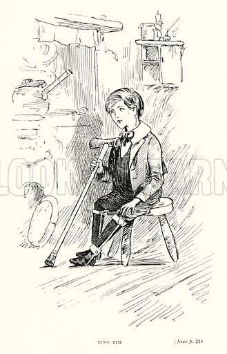 Tiny Tim. Illustration for Scenes from Dickens adapted by Guy Pertwee, edited by Ernest Pertwee (George Routledge, c 1910).