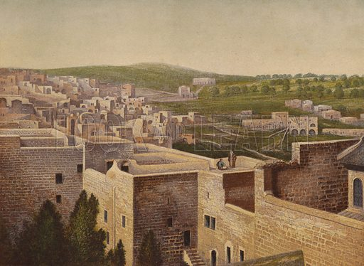 Bethlehem. Illustration for Scenes in the East, Places mentioned in the BIble, by H B Tristram (SPCK, 1870).  Images are chromolithographs based on black and white photographs, coloured and retouched for this publication.