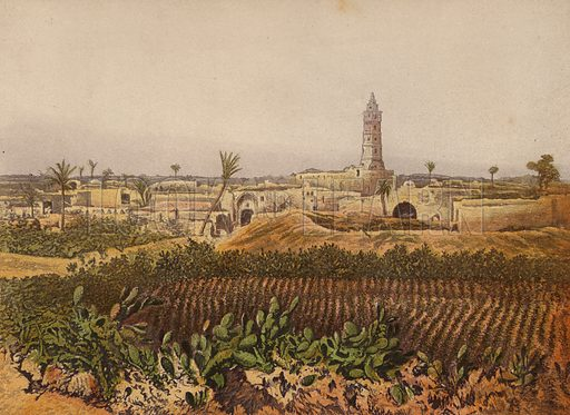 Gaza, The Old Town. Illustration for Scenes in the East, Places mentioned in the BIble, by H B Tristram (SPCK, 1870).  Images are chromolithographs based on black and white photographs, coloured and retouched for this publication.