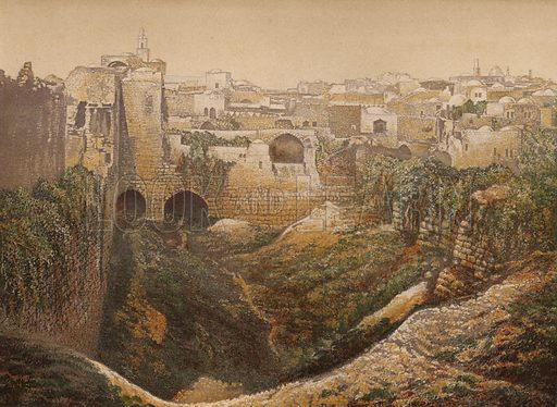 The Pool of Bethesda. Illustration for Scenes in the East, Places mentioned in the BIble, by H B Tristram (SPCK, 1870).  Images are chromolithographs based on black and white photographs, coloured and retouched for this publication.