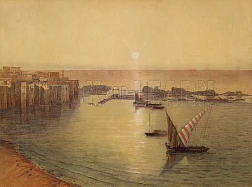 Sidon, Southern side and ancient Harbour. Illustration for Scenes in the East, Places mentioned in the BIble, by H B Tristram (SPCK, 1870).  Images are chromolithographs based on black and white photographs, coloured and retouched for this publication.