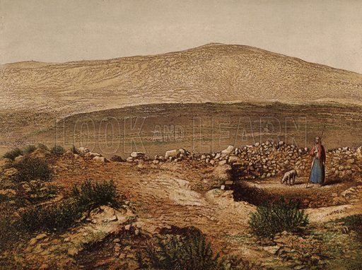 Jacobs Well. Illustration for Scenes in the East, Places mentioned in the BIble, by H B Tristram (SPCK, 1870).  Images are chromolithographs based on black and white photographs, coloured and retouched for this publication.
