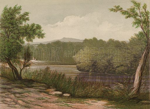The River Jordan. Illustration for Scenes in the East, Places mentioned in the BIble, by H B Tristram (SPCK, 1870).  Images are chromolithographs based on black and white photographs, coloured and retouched for this publication.