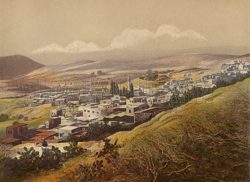 Nazareth. Illustration for Scenes in the East, Places mentioned in the BIble, by H B Tristram (SPCK, 1870).  Images are chromolithographs based on black and white photographs, coloured and retouched for this publication.