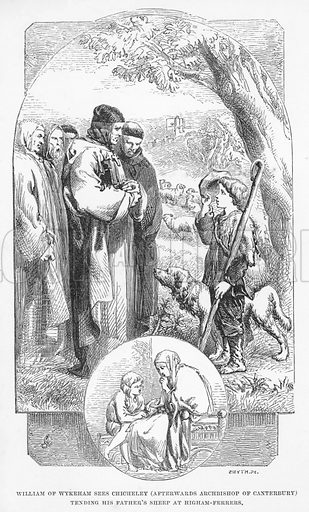William of Wykeham sees Chicheley, afterwards Archbishop of Canterbury, tending his father's sheep at Higham-Ferrers. Illustration for School-Days of Eminent Men by John Timbs (new edn, Lockwood, c 1899).