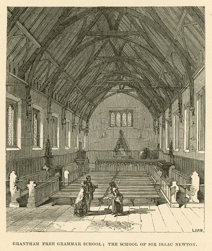 Grantham Free Grammar School; the School of Sir Isaac Newton. Illustration for School-Days of Eminent Men by John Timbs (new edn, Lockwood, c 1899).