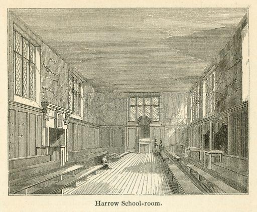 Harrow School-room. Illustration for School-Days of Eminent Men by John Timbs (new edn, Lockwood, c 1899).