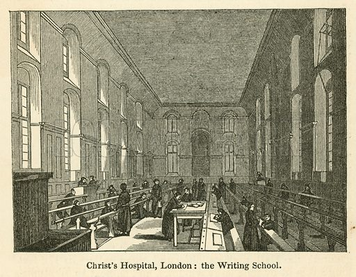 Christ's Hospital, London, the Writing School. Illustration for School-Days of Eminent Men by John Timbs (new edn, Lockwood, c 1899).