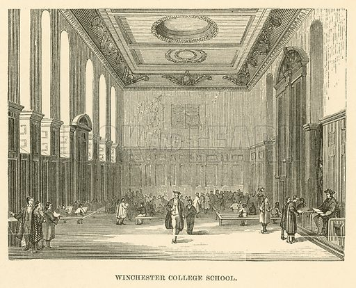 Winchester College School. Illustration for School-Days of Eminent Men by John Timbs (new edn, Lockwood, c 1899).