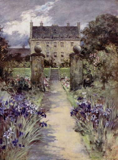 Carnock. Illustration for Scottish Gardens by Sir Herbert Maxwell illustrated by Mary G W Wilson (Edward Arnold, 1911).