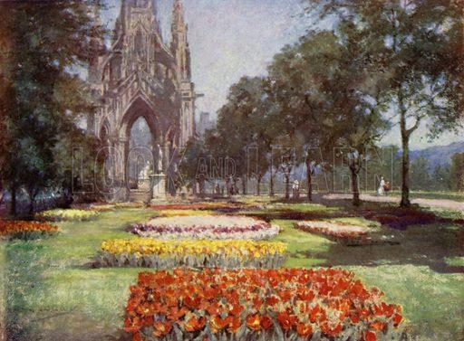 Princes Street Gardens, Edinburgh. Illustration for Scottish Gardens by Sir Herbert Maxwell illustrated by Mary G W Wilson (Edward Arnold, 1911).