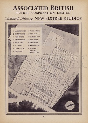 Architect's Plan of New Elstree Studios. Illustration for Winchester's Screen Encyclopedia edited by Maud M Miller (Winchester Publications, 1948).