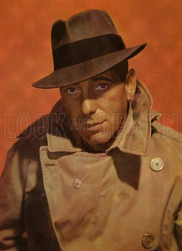 Humphrey Bogart. Illustration for Winchester's Screen Encyclopedia edited by Maud M Miller (Winchester Publications, 1948).