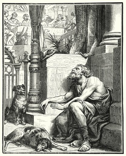 The Rich Man and Lazarus. Illustration for Scripture Picture-Book (SPCK, c 1890).