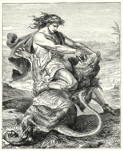 Samson slaying the lion. Illustration for Scripture Picture-Book (SPCK, c 1890).