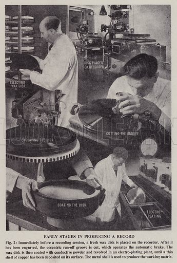 Early stages in producing a record. Illustration for See How It Works, popular scientific devices and how they work explained and illustrated (Odhams, 1949).
