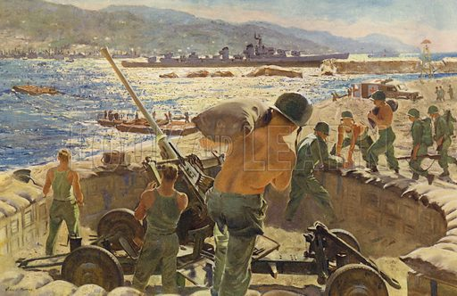 Mediterranean Beachhead, St Tropez, 17 August 1944. Illustration for Significant War Scenes by Battlefront Artists, 1941-45. Work sponsored by Chrysler Corporation, to whom the copyright is also credited.  Published 1951.