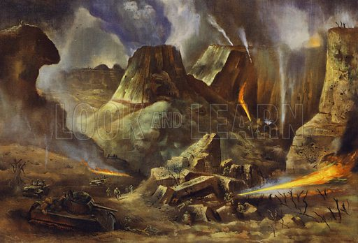 Inferno on Iwo Jima. Illustration for Significant War Scenes by Battlefront Artists, 1941-45. Work sponsored by Chrysler Corporation, to whom the copyright is also credited.  Published 1951.