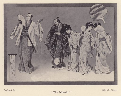 """The Mikado."" Illustration for Souvenir of Sir Arthur Sullivan by Walter J Wells (George Newnes, 1901)."