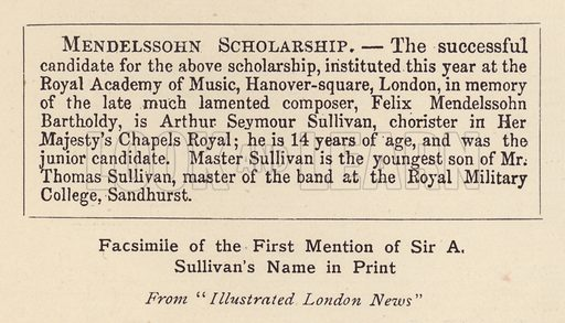 Facsimile of the First Mention of Sir A Sullivan's Name in Print. Illustration for Souvenir of Sir Arthur Sullivan by Walter J Wells (George Newnes, 1901).