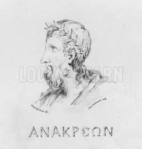 Portrait of Anacreon. Illustration for Odes of Anacreon, translated by Thomas Moore, illustrated by Robert Ker Porter and engraved by John Vendramini (John P Thompson, 1805).
