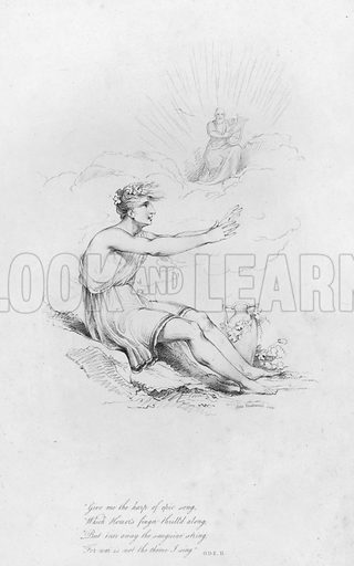 Ode II. Illustration for Odes of Anacreon, translated by Thomas Moore, illustrated by Robert Ker Porter and engraved by John Vendramini (John P Thompson, 1805).