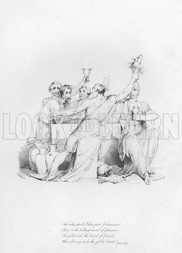 Ode XXXVI. Illustration for Odes of Anacreon, translated by Thomas Moore, illustrated by Robert Ker Porter and engraved by John Vendramini (John P Thompson, 1805).
