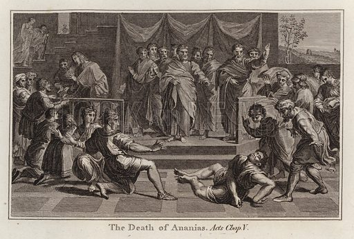 The Death of Ananias, Acts, Chap V. Illustration for Cartons [sic] Done from the Originals in His Majesty's Collection (np, nd).