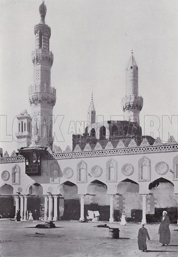 Mosque El-Azhar. Illustration for Souvenir of Egypt (George Ch Dovas, 1898).