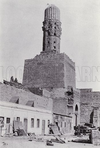 Minaret of the Mosque El-Hakim. Illustration for Souvenir of Egypt (George Ch Dovas, 1898).