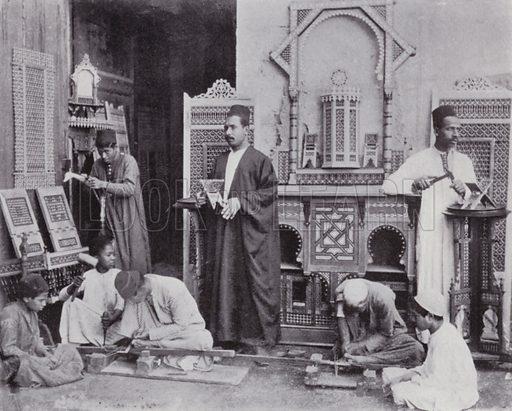 A Mushrebieh Workshop. Illustration for Souvenir of Egypt (George Ch Dovas, 1898).